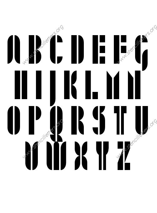Jazzy Modern A to Z uppercase letter stencils