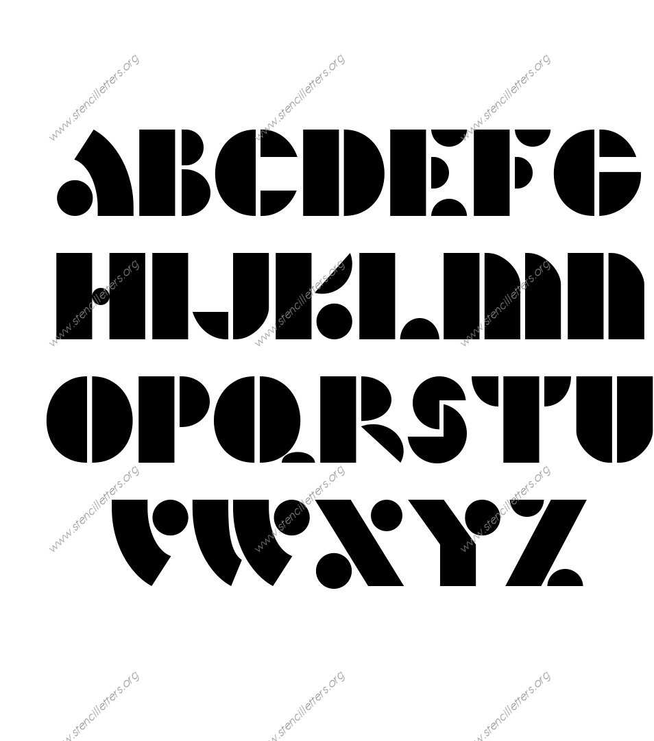 Art Deco Bold A to Z lowercase letter stencils