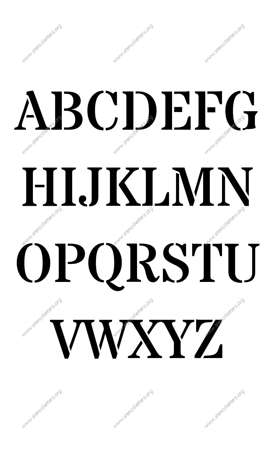 Industrial Army A to Z alphabet stencils