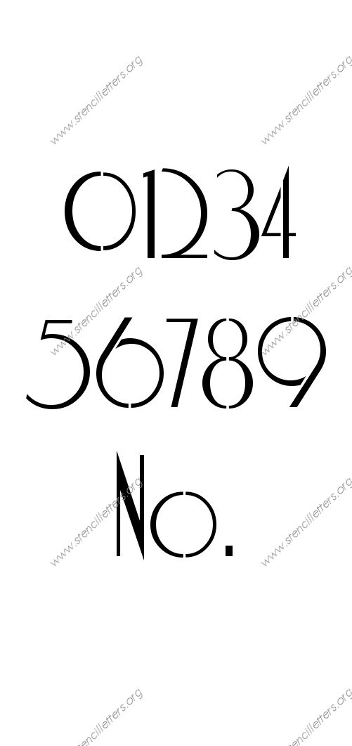 Elegant Art Deco 0 to 9 number stencils