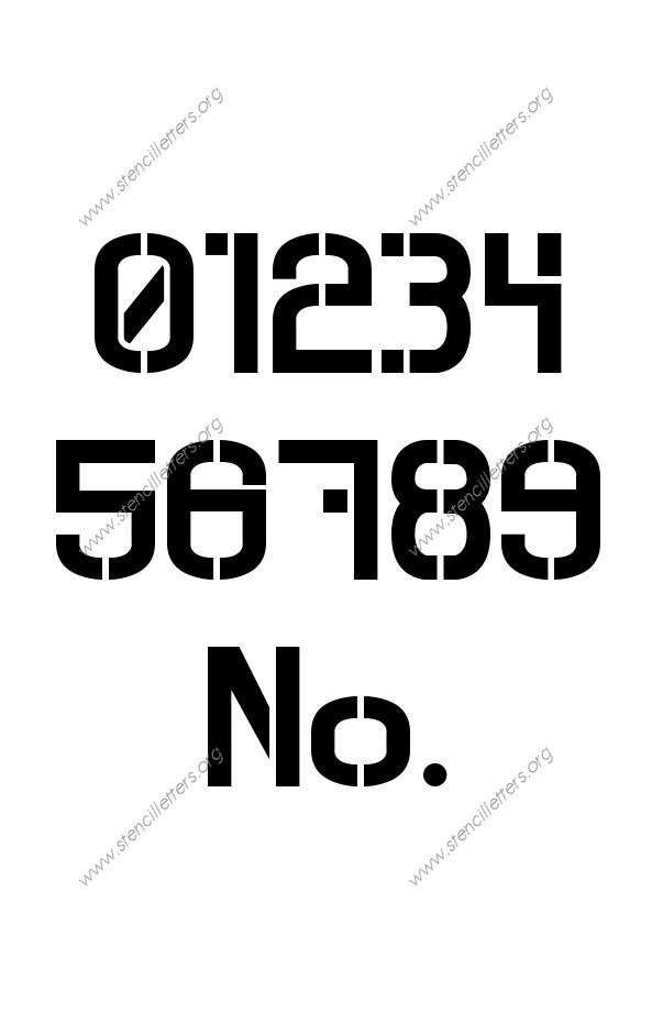 Contemporary Modern 0 to 9 number stencils