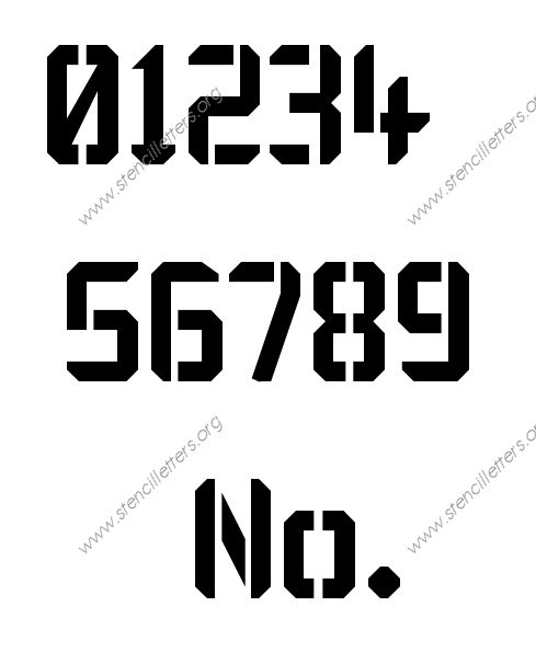 Techy Modern 0 to 9 number stencils