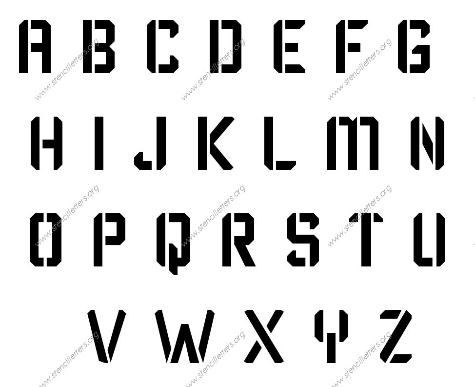 Techy Modern A to Z alphabet stencils