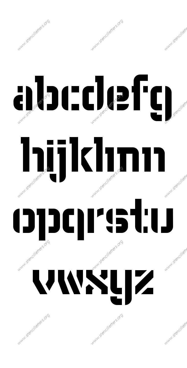 Fore-front Futuristic A to Z lowercase letter stencils