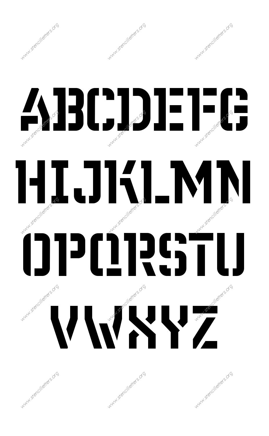 Fore-front Futuristic A to Z uppercase letter stencils