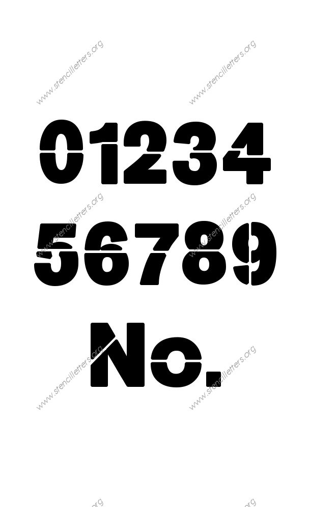 Heavy Bold 0 to 9 number stencils