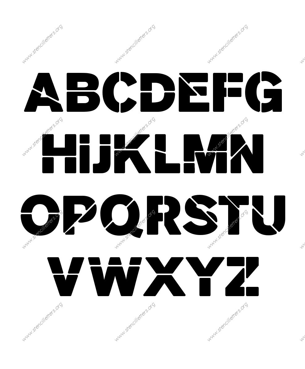 Heavy Bold A to Z uppercase letter stencils