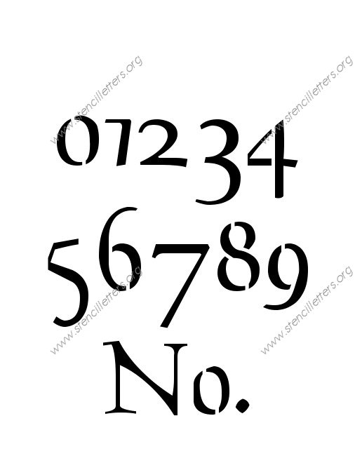 Decorative Celtic 0 to 9 number stencils