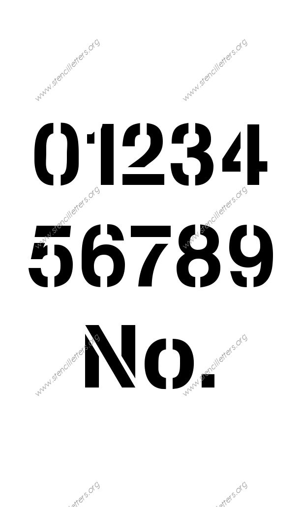 Army Modern 0 to 9 number stencils