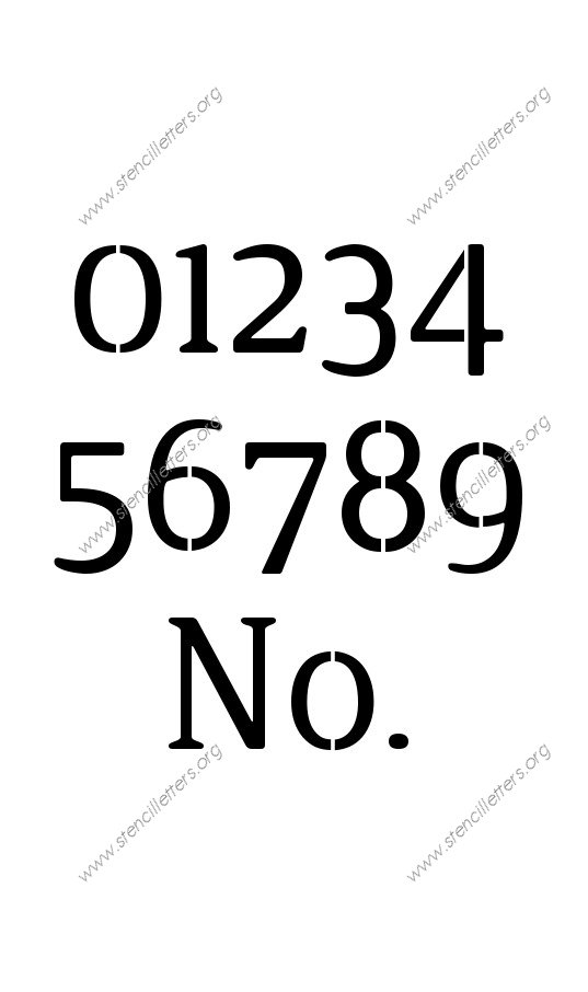 Narrow Rounded Serif 0 to 9 number stencils