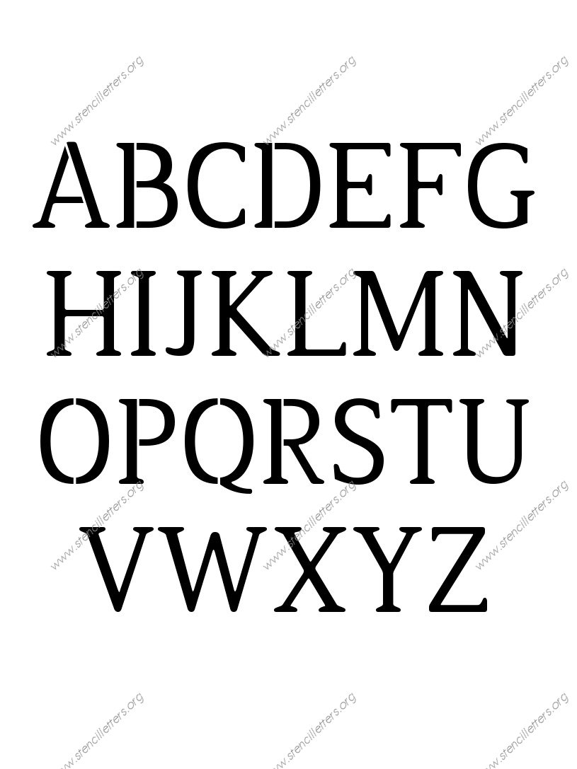 Narrow Rounded Serif A to Z uppercase letter stencils