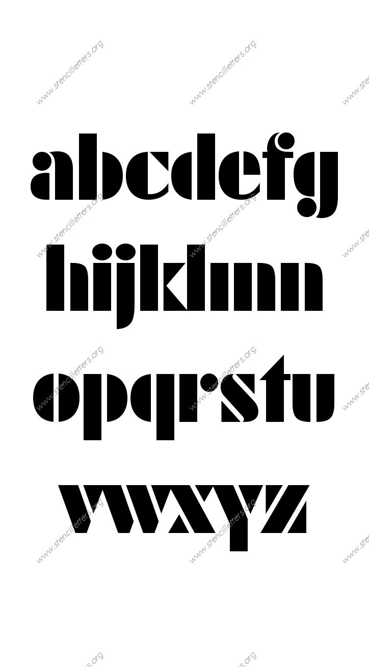 Leading Edge Futuristic A to Z lowercase letter stencils