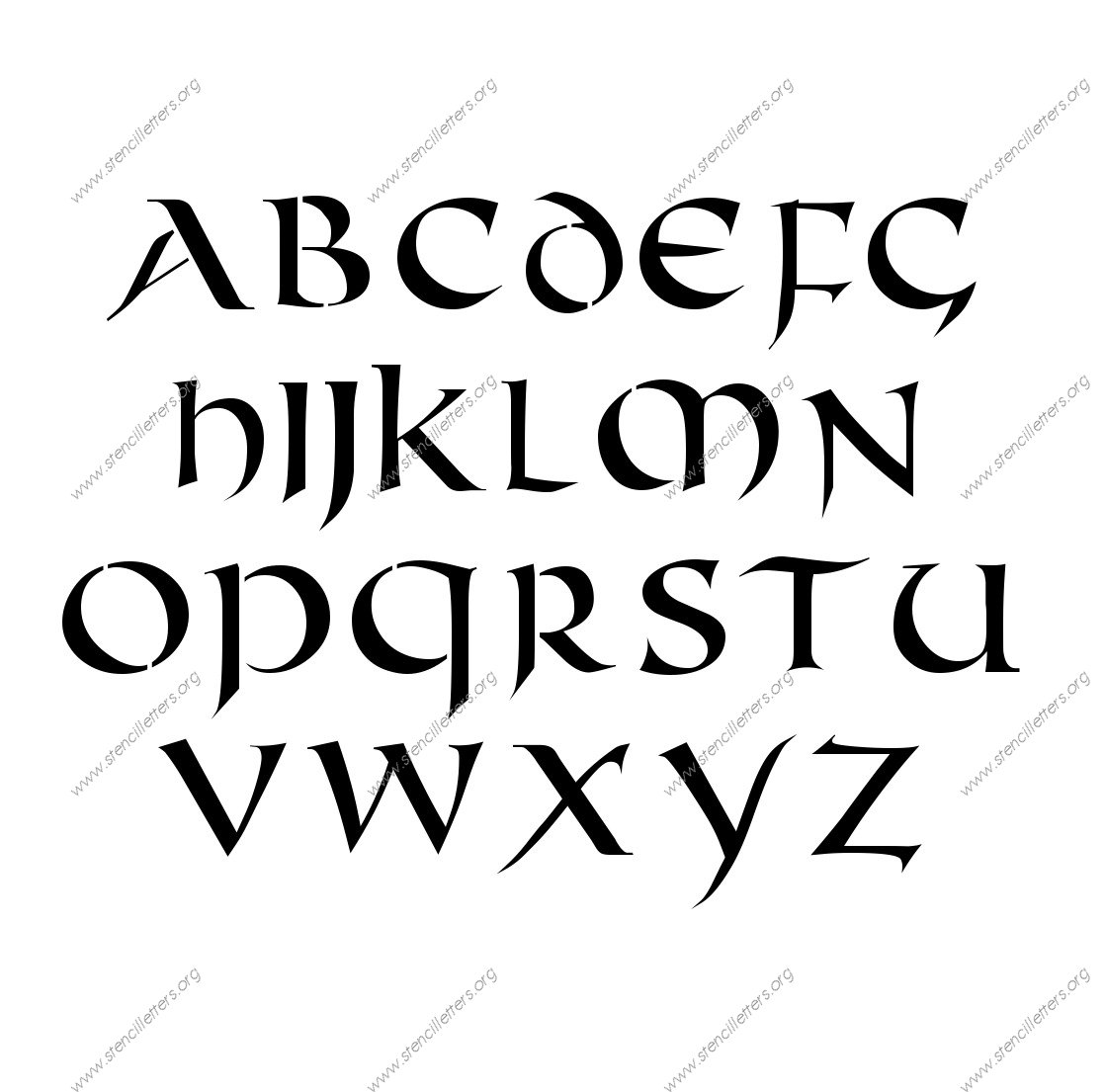 Celtic International A to Z alphabet stencils