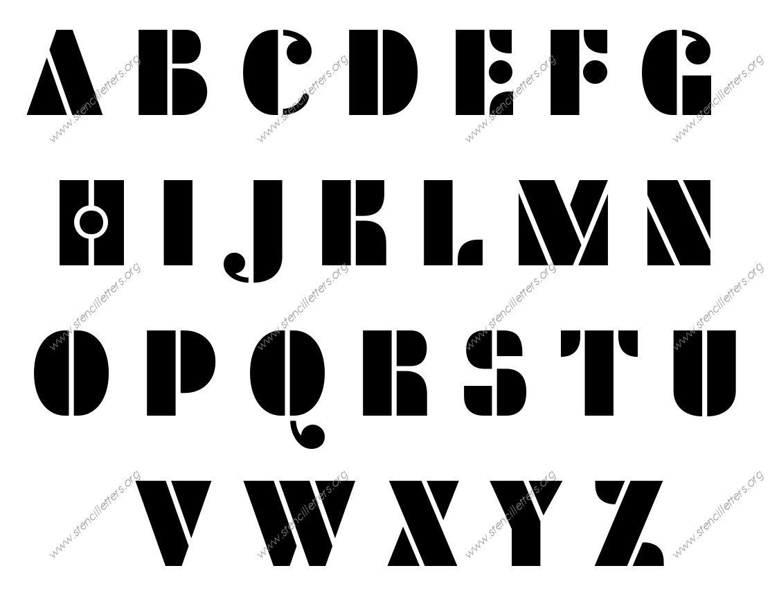 Circular Elegant A to Z uppercase letter stencils