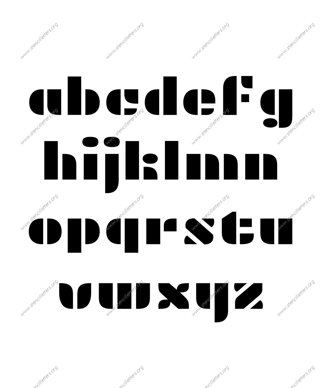 Display Decorative A to Z lowercase letter stencils