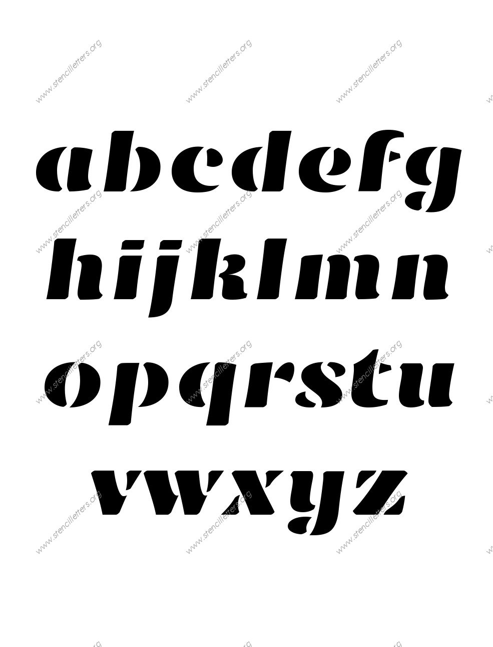 Victorian Bold A to Z lowercase letter stencils