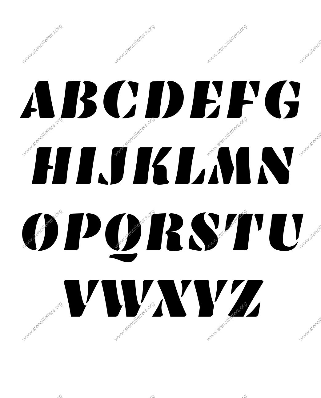 Victorian Bold A to Z uppercase letter stencils