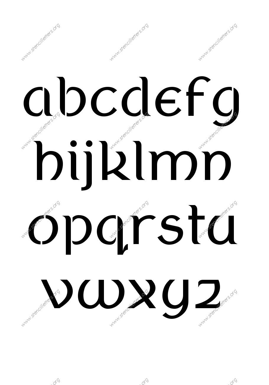 Ancient Celtic A to Z lowercase letter stencils