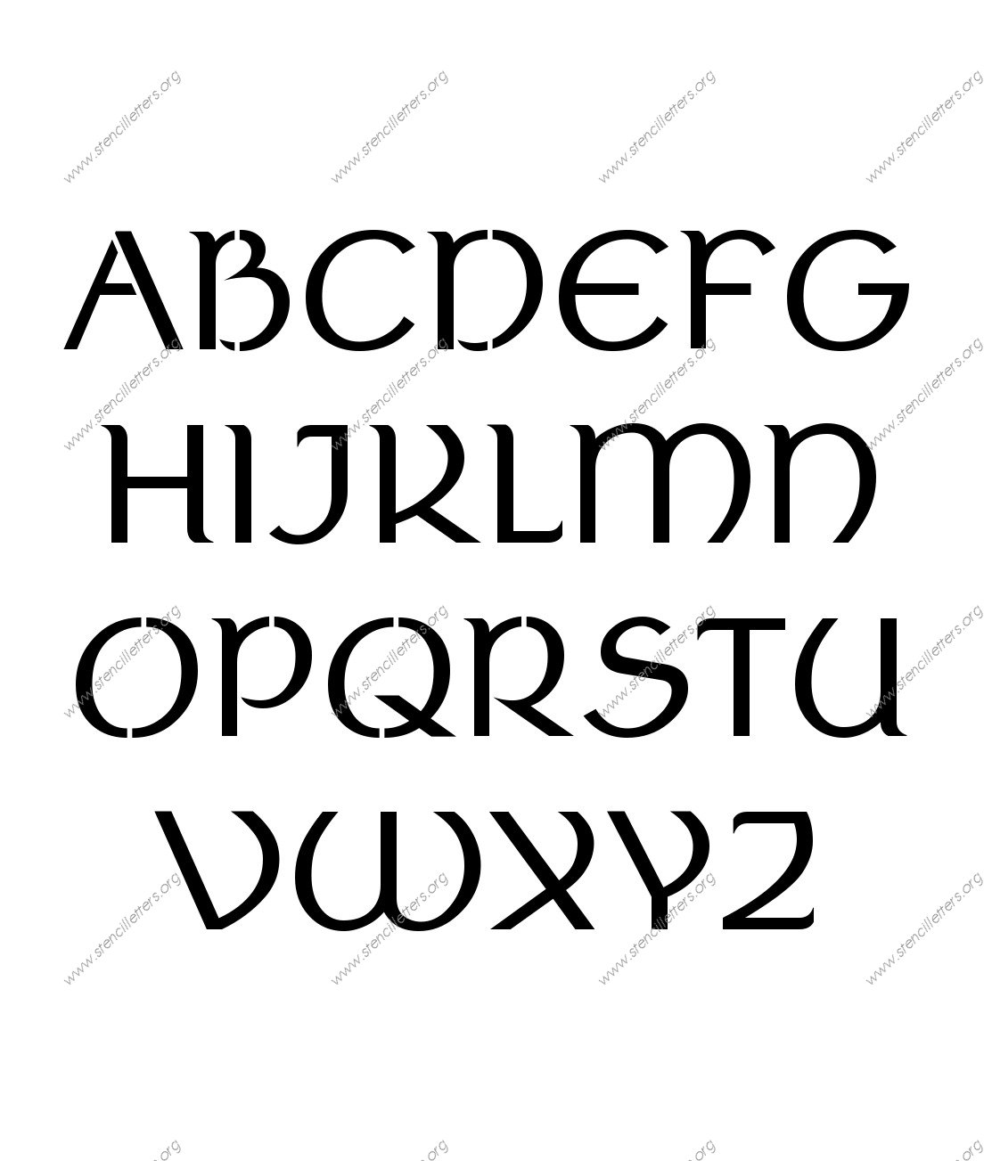 Ancient Celtic A to Z alphabet stencils
