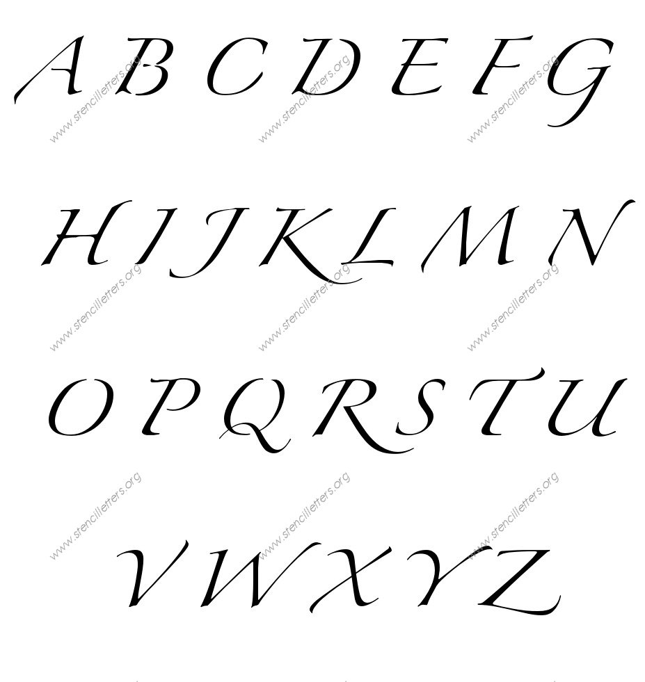 script cursive uppercase lowercase letter stencils a z 1 4 to 12