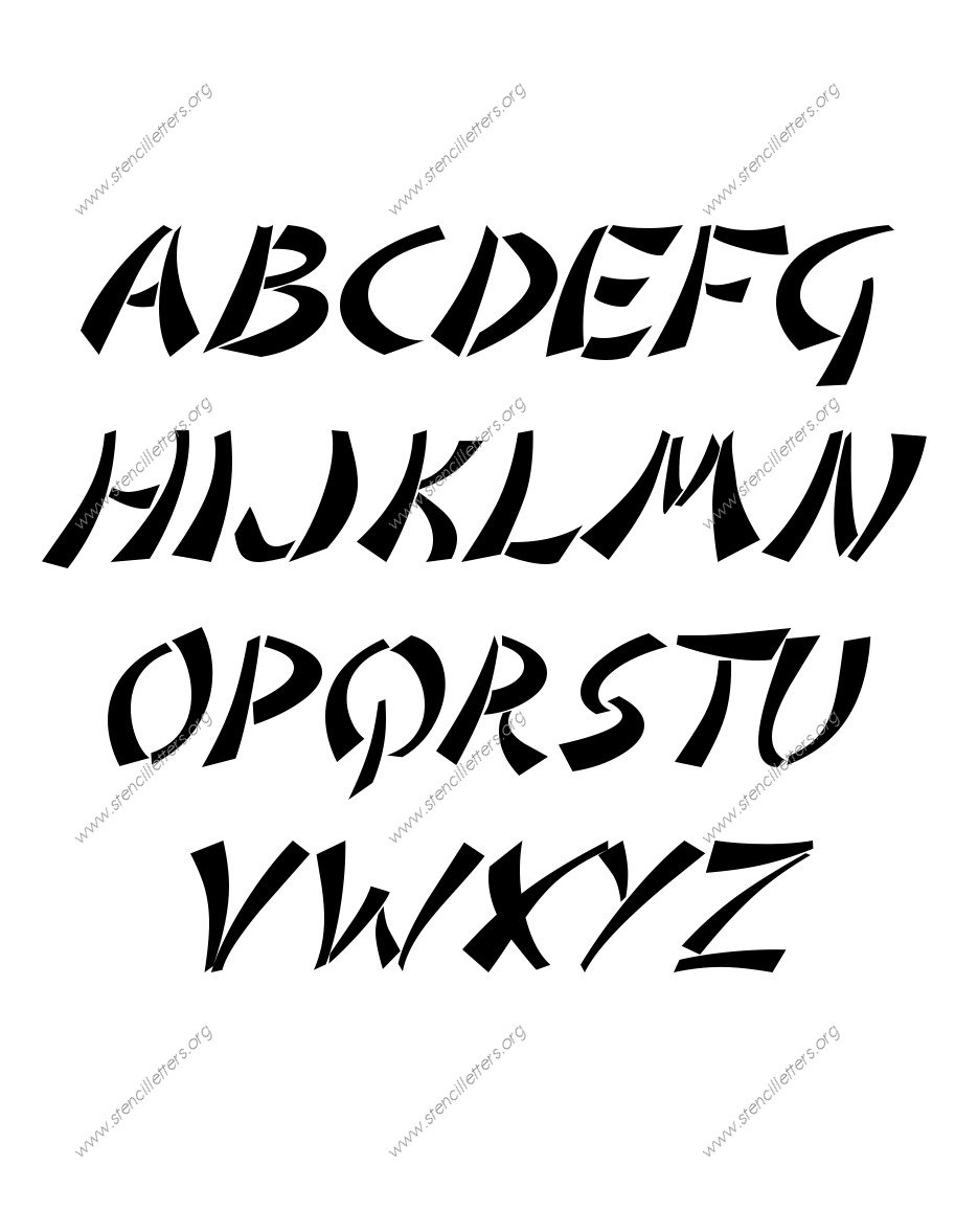 Asian Italic A to Z uppercase letter stencils