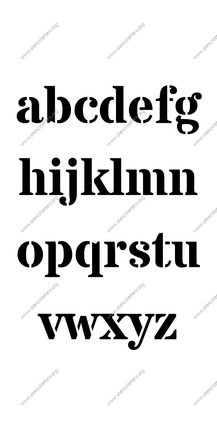Serif Bold A to Z lowercase letter stencils