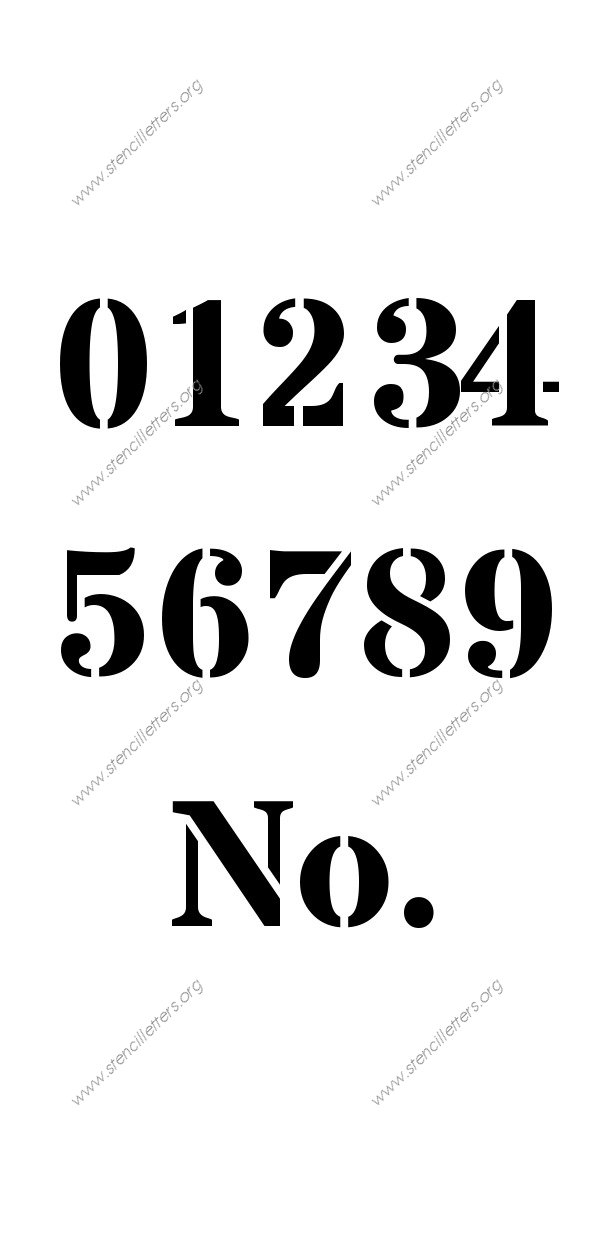 Serif Bold 0 to 9 number stencils