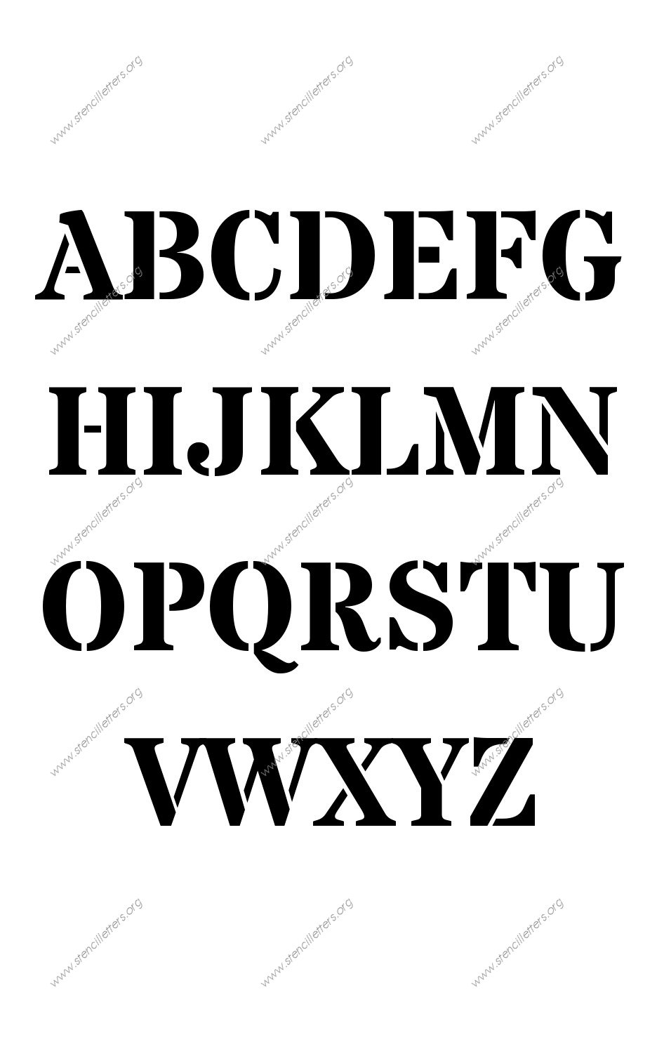 Serif Bold A to Z uppercase letter stencils