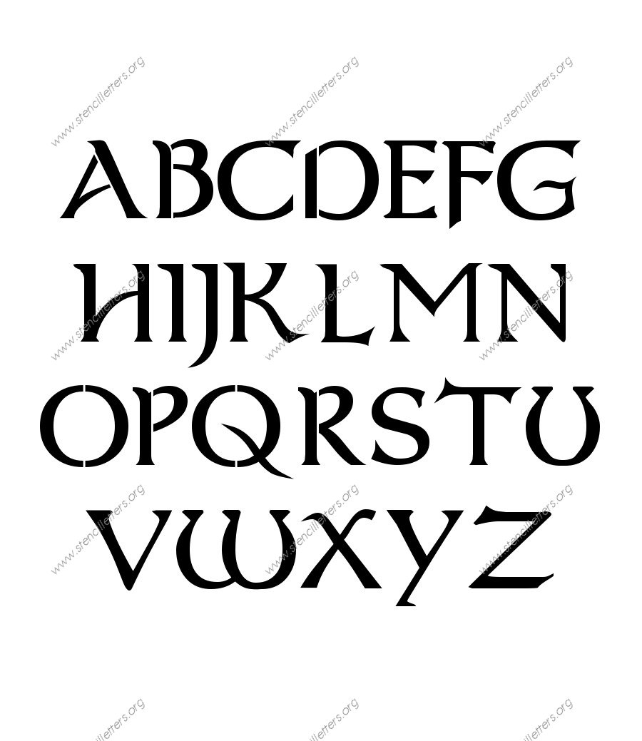 Celtic Fantasy A to Z uppercase letter stencils