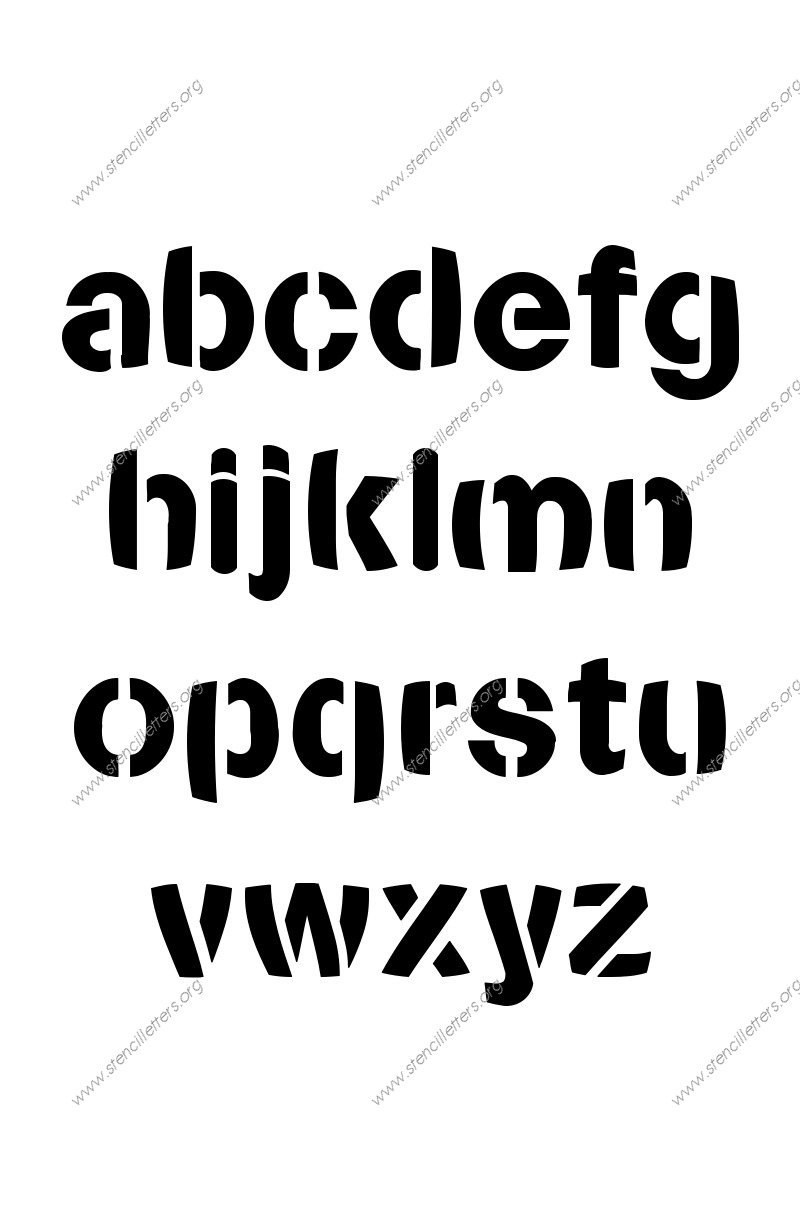 Artistic Bold A to Z lowercase letter stencils