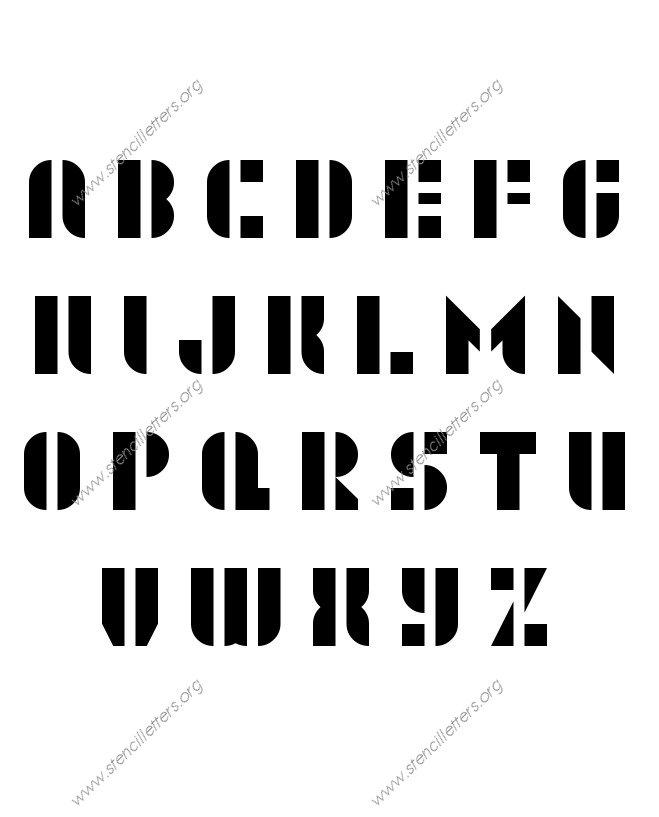 Swashy Bold A to Z uppercase letter stencils
