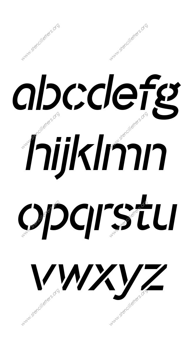 Plain Modern A to Z lowercase letter stencils
