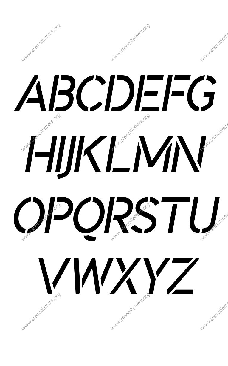 Plain Modern A to Z uppercase letter stencils