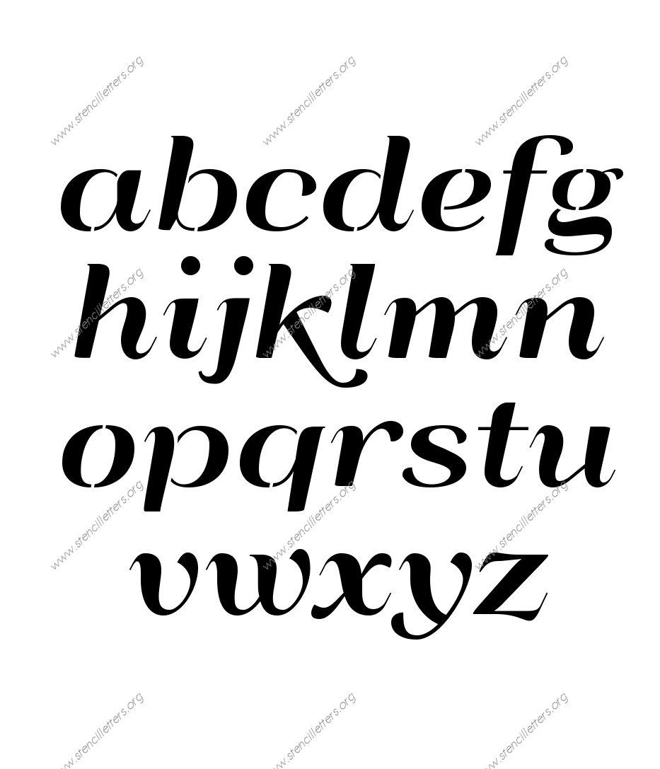 Art Deco Italic A to Z lowercase letter stencils