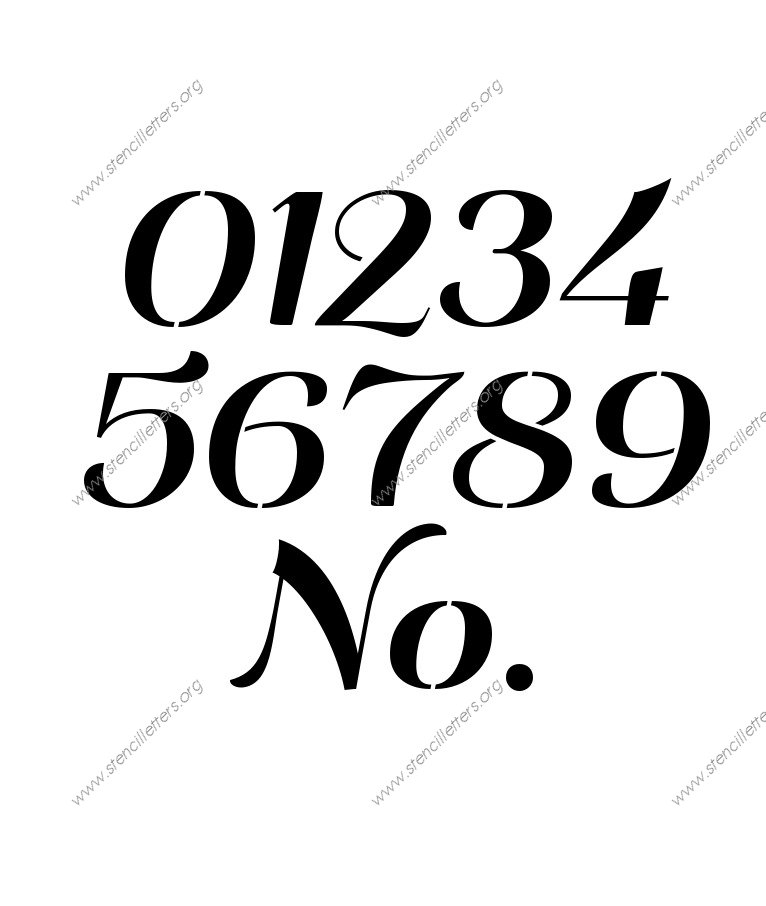 Art Deco Italic 0 to 9 number stencils