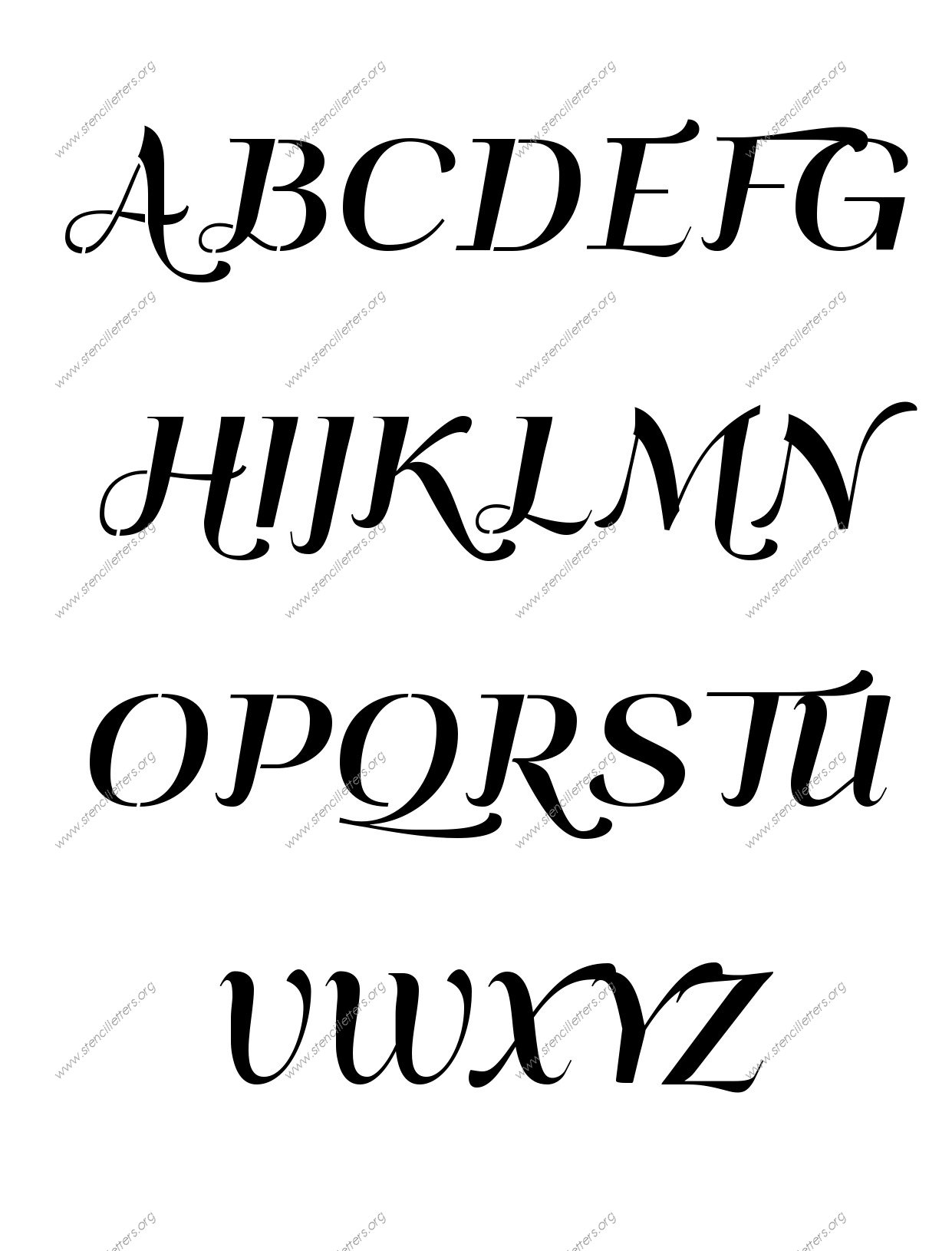 Art Deco Italic A to Z alphabet stencils