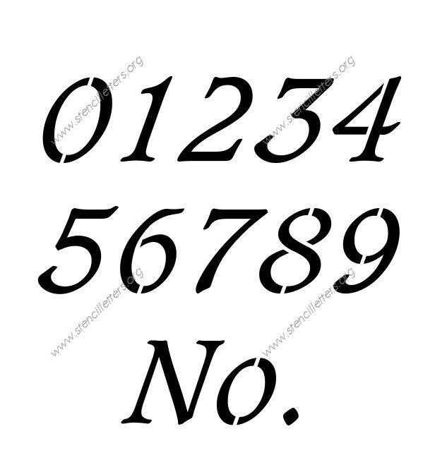 Basic Bold Italic 0 to 9 number stencils
