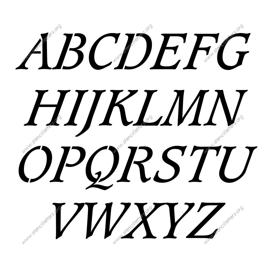 Basic Bold Italic A to Z uppercase letter stencils