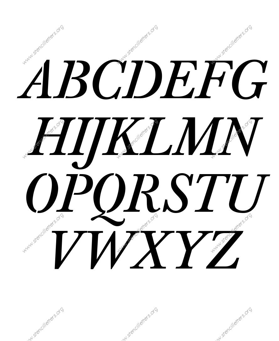 Elegant Italic Uppercase & Lowercase Letter Stencils A-Z 1/4 to 12