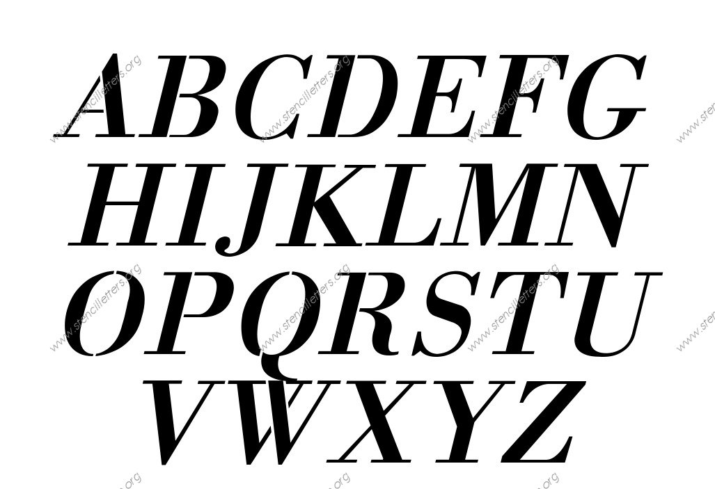 1700s Decorative Italic A to Z alphabet stencils
