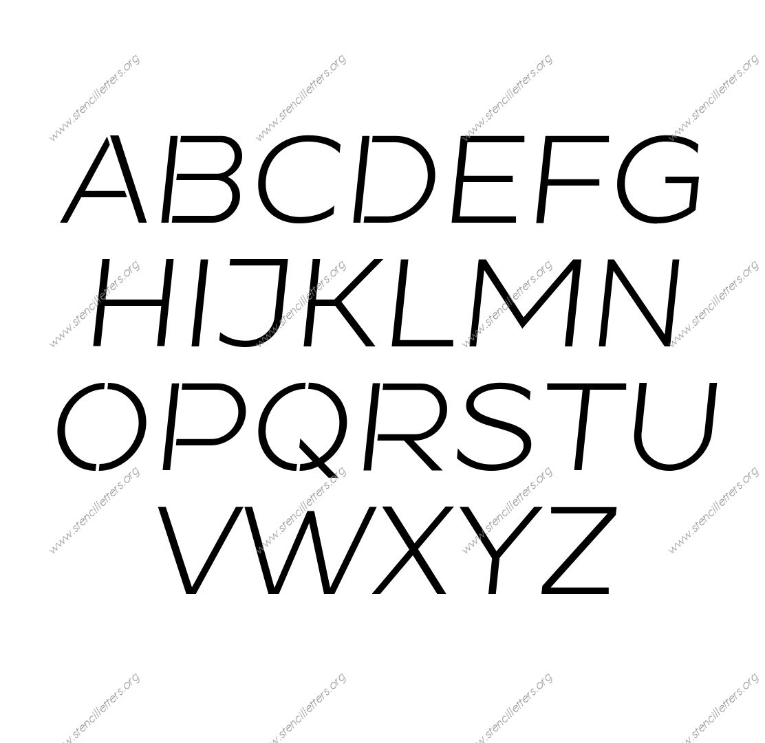 Banner Italic A to Z uppercase letter stencils