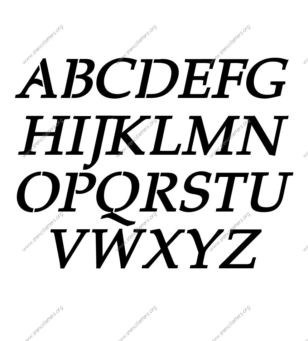 1990s Headline Italic A to Z uppercase lowercase letter stencil set