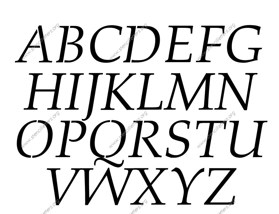 Formal Elegant Italic Stencil Letter Set