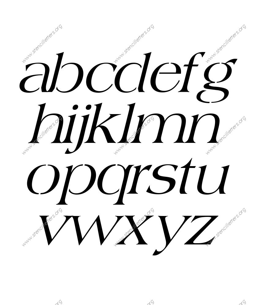 1960s Americana Italic A to Z lowercase letter stencils