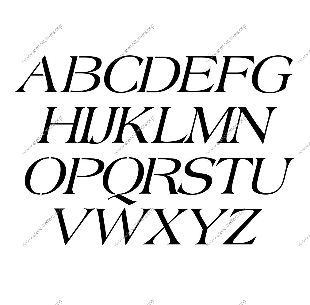 1960s Americana Italic A to Z uppercase letter stencils