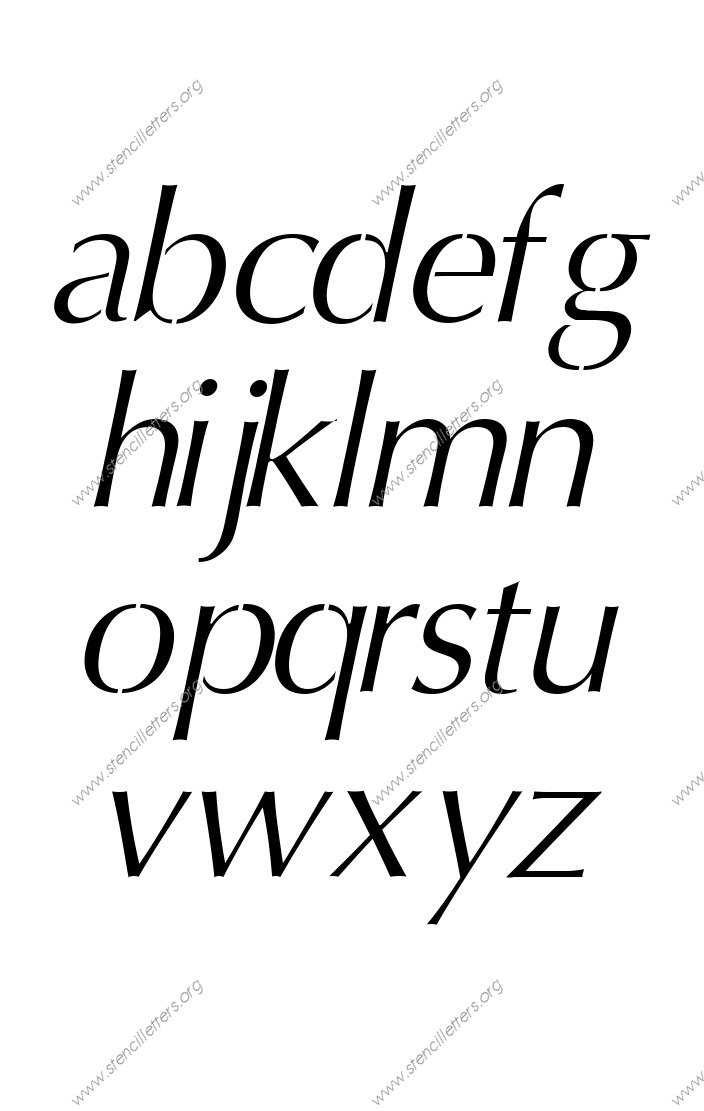 Headline Sans Italic A to Z lowercase letter stencils