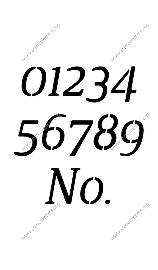 Narrow Rounded Serif Italic Number Stencil