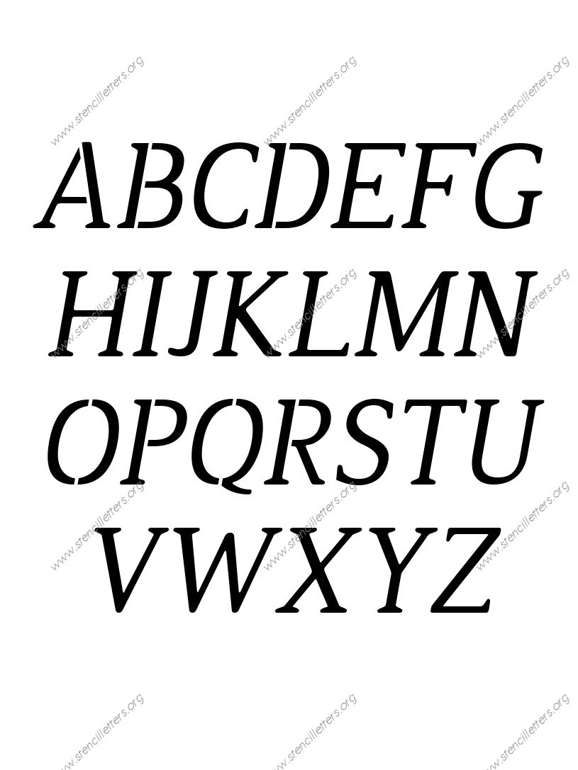 Narrow Rounded Serif Italic Stencil Letter Set
