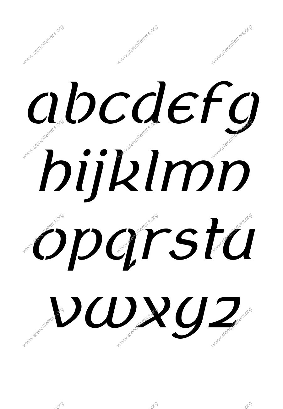 Ancient Celtic Italic A to Z lowercase letter stencils
