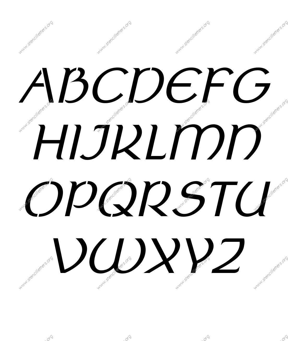 Ancient Celtic Italic Stencil Letter Set